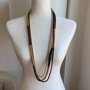 INK CHAIN TRIPLE NECKLACE SNAKE GOLD BROWN CHUNKY